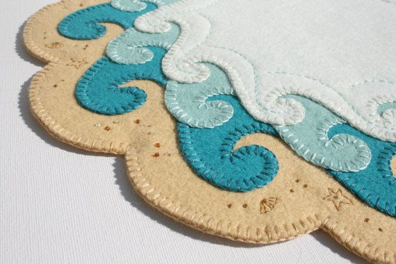 The shore penny rug hand embroidery seaside art limited edition