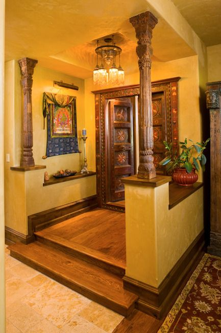 Indian homes indian decor traditional indian interiors for Foyer design ideas india