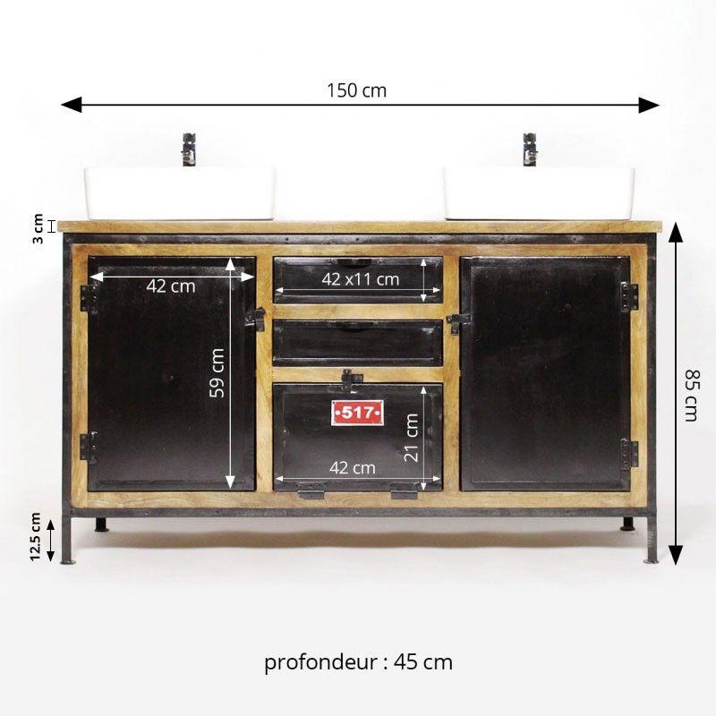 Meuble Salle De Bain Industriel 2 Vasques Metal Noir Et Plateau Bois