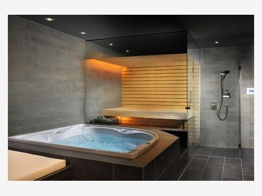 Home Sauna With Hot Tub Home Spa Room Jacuzzi Room Hot Tub Room