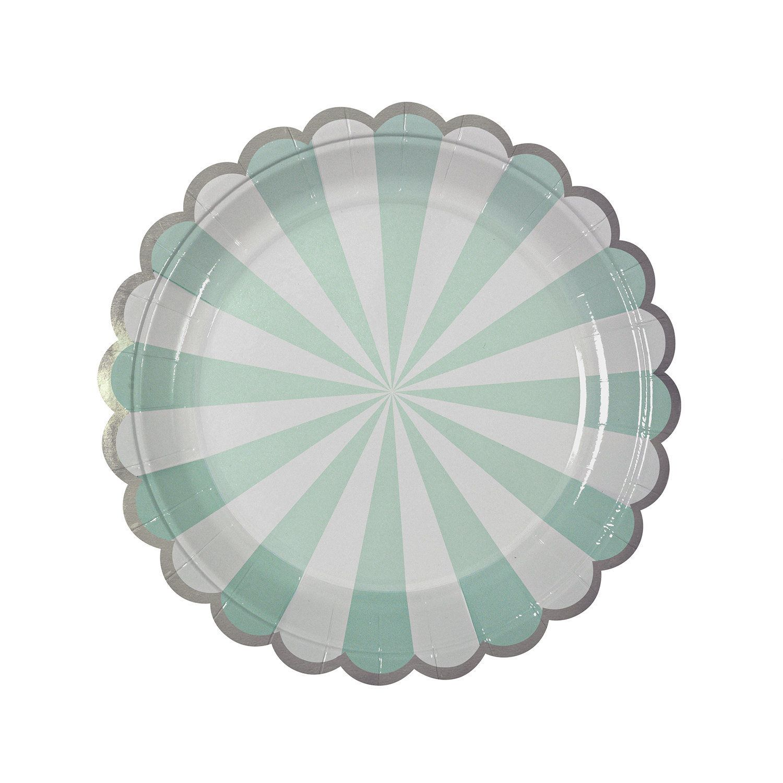 "Plates | Meri Meri | Toot Sweet | Aqua & White Stripe Small Plates 7"" | Paper Plates | Party Plates | Party Supplies | The Party Darling by ThePartyDarlingLLC on Etsy"