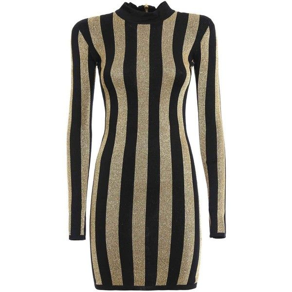 Balmain Lurex Gold Black Striped Pattern Mini Dress ($1,000) ❤ liked on  Polyvore featuring