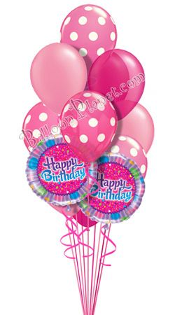 Dots In Pink Birthday Balloon Bouquet 12 Balloons Hand Delivered By Balloonplanet