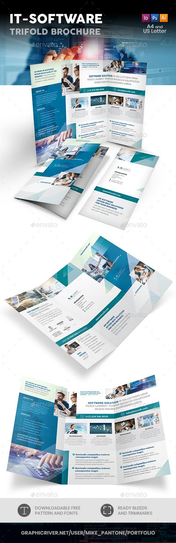 It Software Company Trifold Brochure Fully Editable Professional
