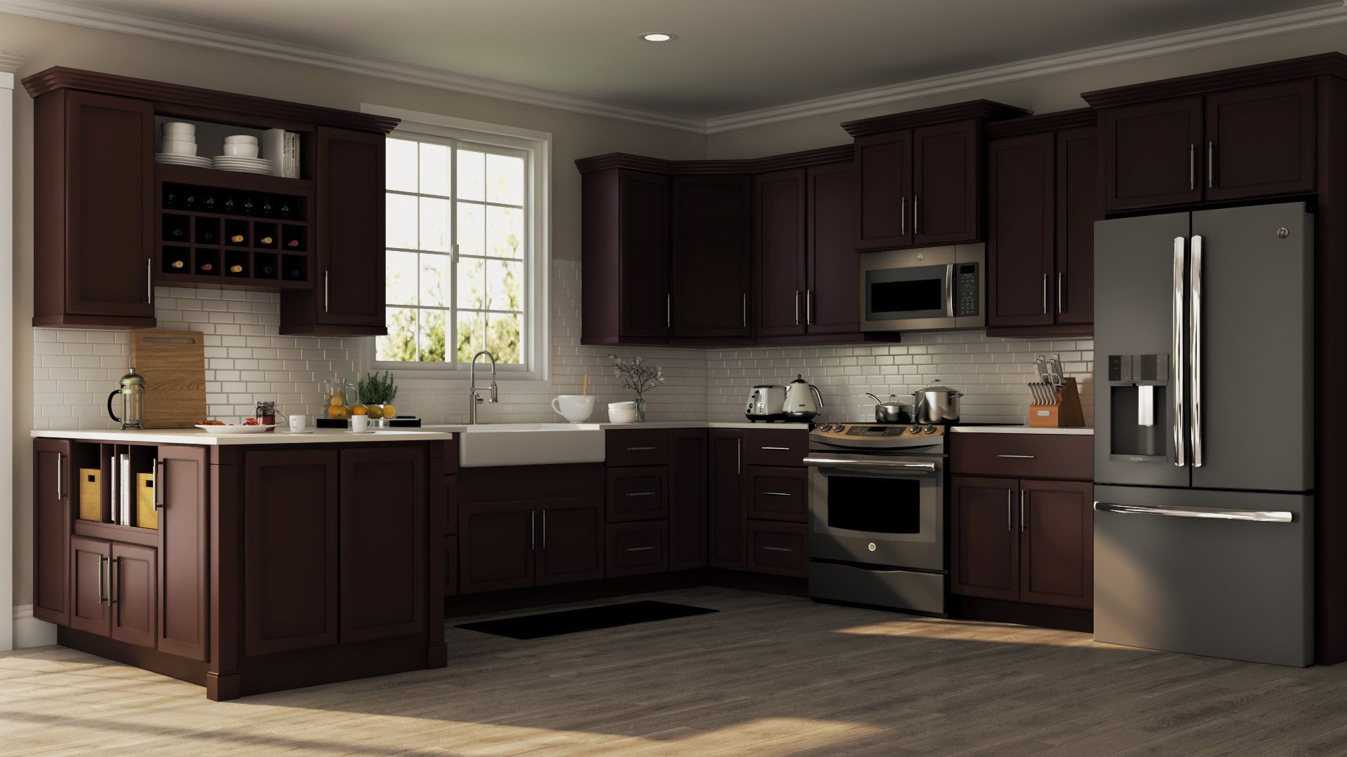 shop our kitchen cabinets department to customize your shaker wall kitchen cabinets in java on kitchen cabinets java id=46730