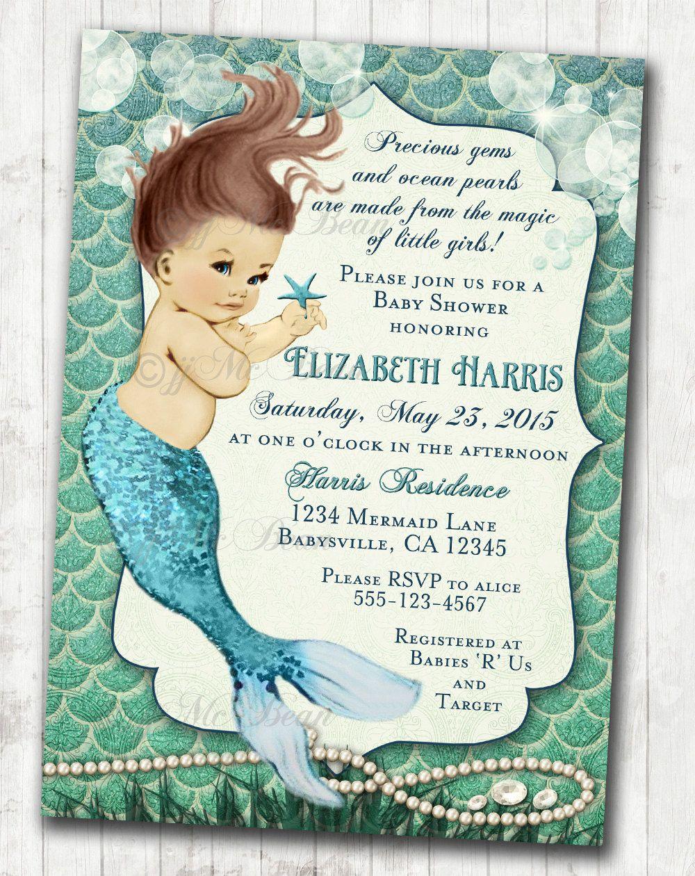 Mermaid Baby Shower Invitation Little Mermaid Ocean Baby Shower ...