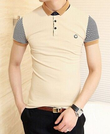 a82b58a925198 Stylish Color Block Turn-down Collar Stripes Short Sleeves Polyester Polo  Shirt…