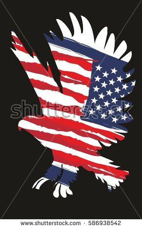 American Flag And Eagle Retro Style Graphic Design Vector Art