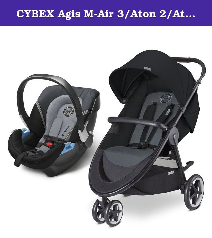 CYBEX Agis M-Air 3/Aton 2/Aton Base 2 Travel System, Moon Dust. Agis M-Air 3 is the perfect lightweight stroller to easily navigate the urban landscape with a clean and crisp design. Folds very compactly with the quick and easy one-hand fold and can stand when folded. The telescoping handle will accommodate any size parent and never flat foam filled tires makes pushing a breeze. Extra-large UV 50+ canopy, including an extra zip out panel with a see through window. The wide and comfortable...
