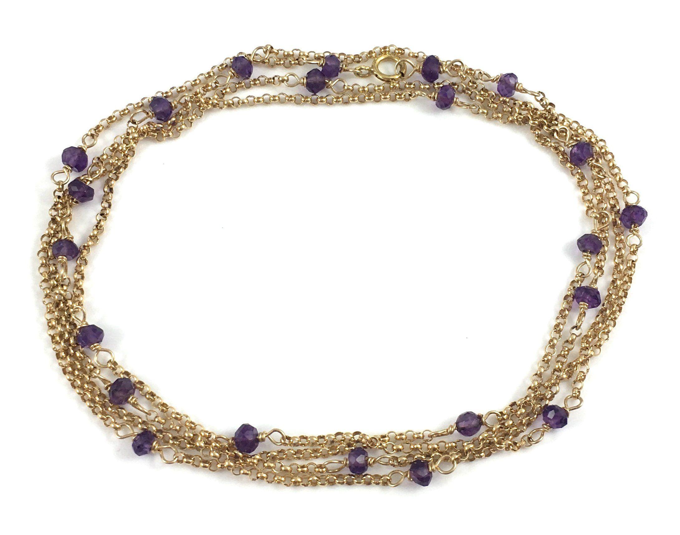 "Gaia Goddess Delicate Amethyst Gem Chain Necklace 36"""