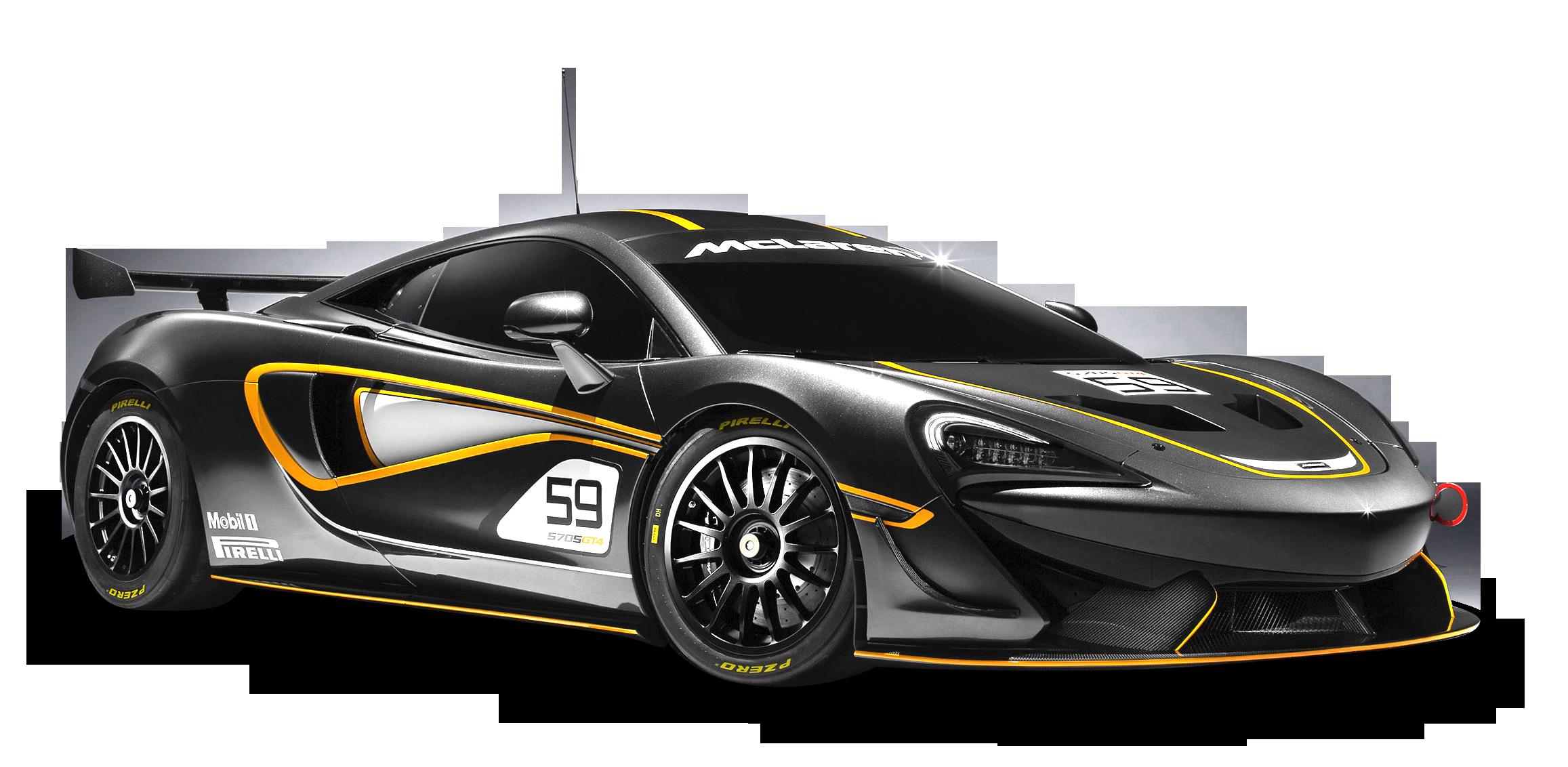 Download Black McLaren 570S GT4 Racing Car PNG Image for