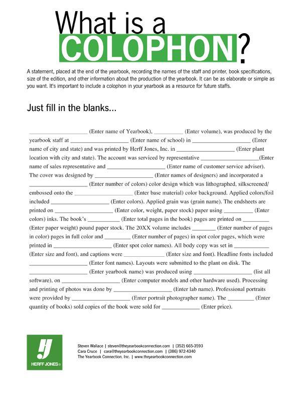 The elusive colophon! | Yearbook | Pinterest | Mundo y Ideas