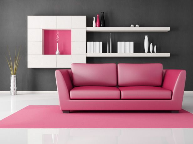 Pantone Color of the Year - Honeysuckle Pink | Pink sofa, White ...