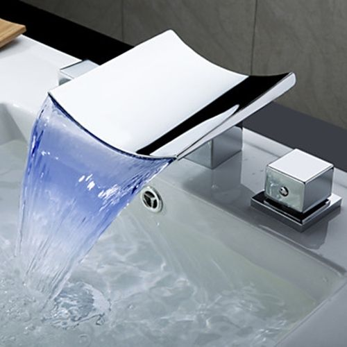Exceptionnel Color Changing LED Waterfall Widespread Bathroom Sink Faucet (Chrome Finish)