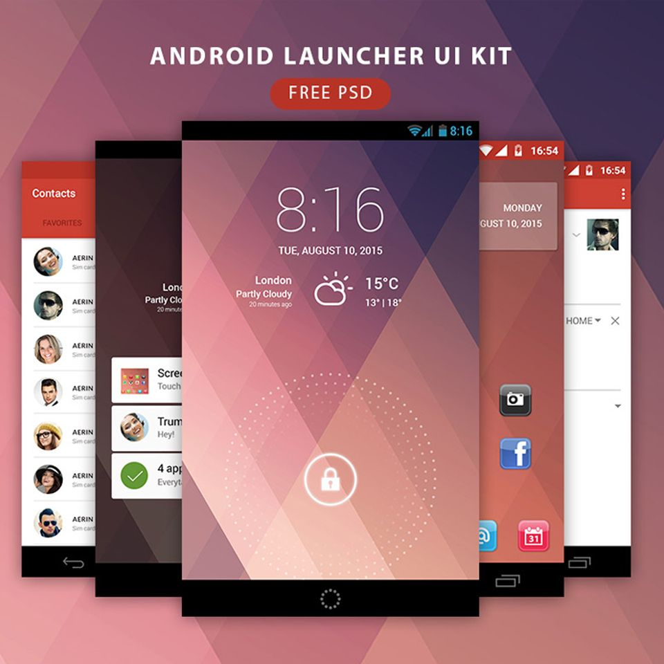 Android Launcher Ui Kit Free Psd User Interface Design Ux