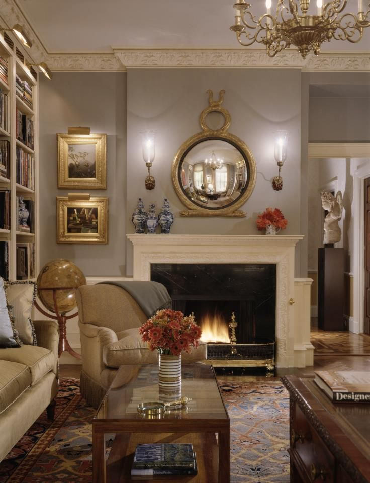 Classical library/drawing room with terrestrial globe setting the ...