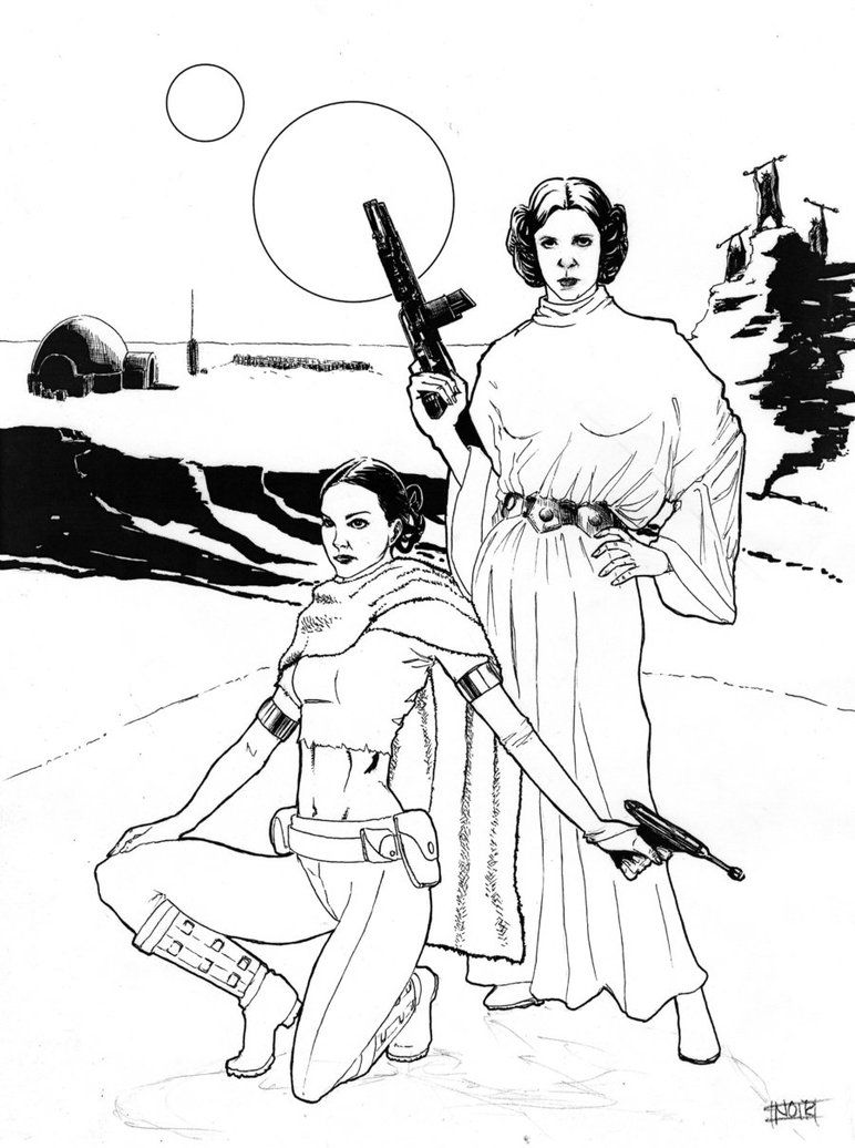 Star Wars Leia And Padme By Dre0083 On Deviantart Star Wars Colors Coloring Pages Cool Coloring Pages
