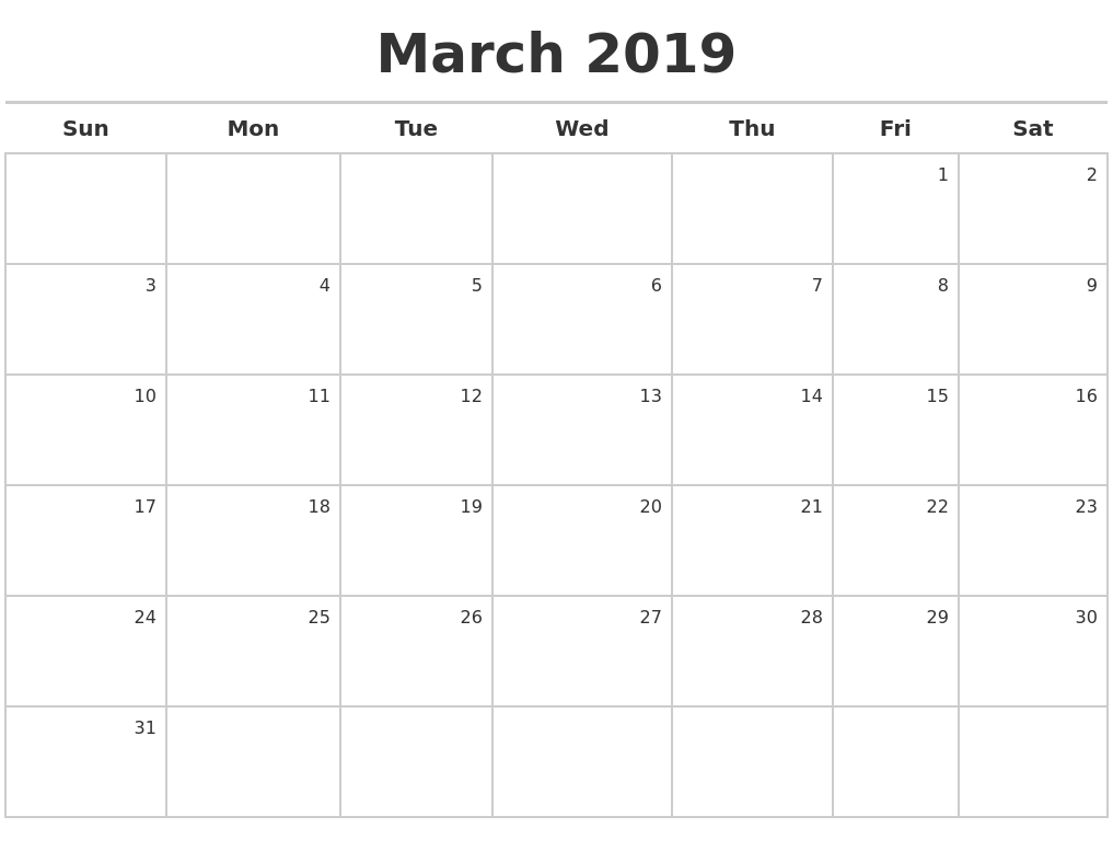 March Calendar 2019 Printable March 2019 Calendar Calendar