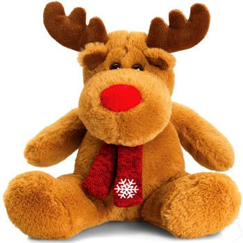 Keel Toys Christmas Reindeer or Penguin with Scarf 20cm Soft Toy Brand New