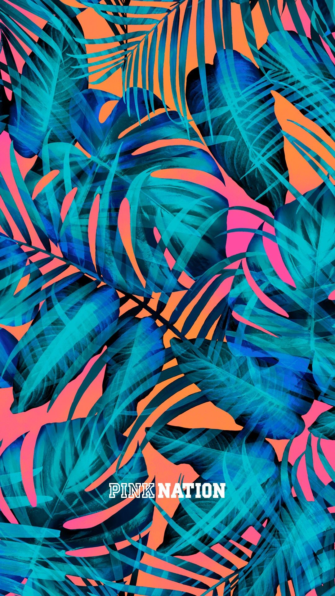 Victoria's Secret pink wallpaper iPhone background nation 2018 spring break palm tree leaf ...