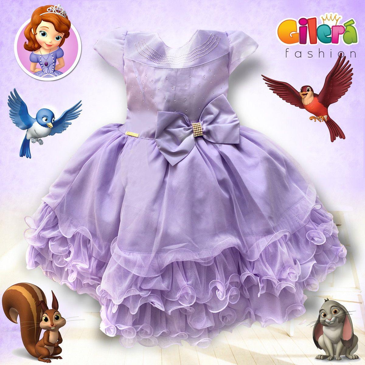 Vestido Infantil Tema Princesinha Sofia - Gilerá Fashion. Sua filha ...