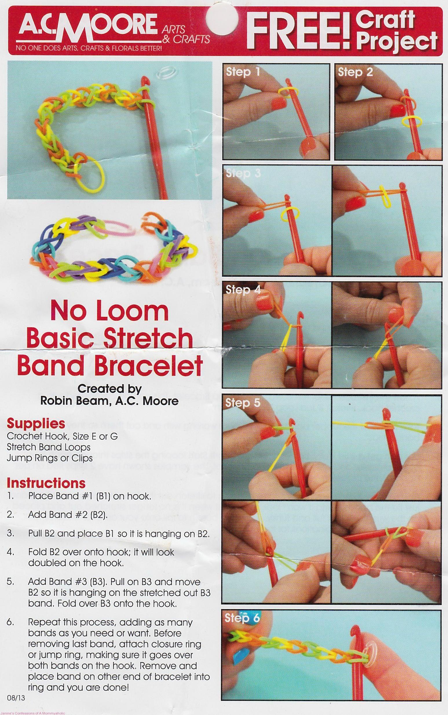 Ac Moore's Rubber Band Bracelet Tutorial Flyer
