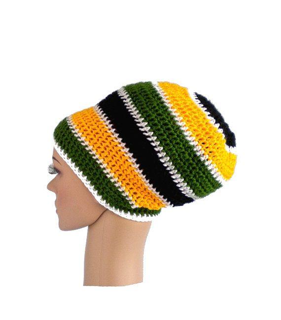 Rastafarian Dreadlock Hat Yellow Black Rasta Skulls Slouch Hat Green and R