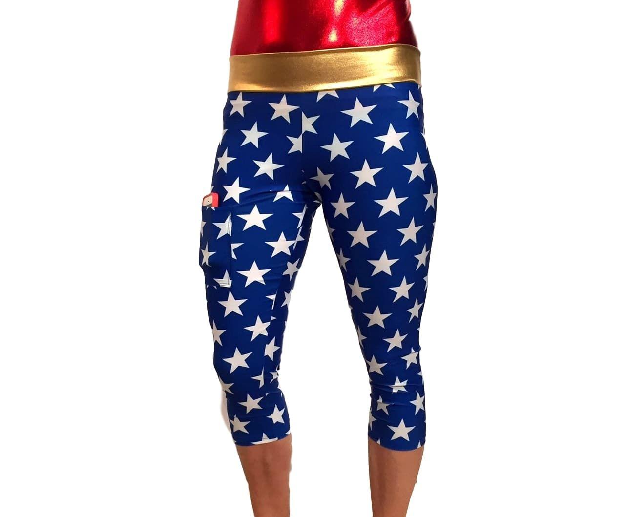 Wonder Woman Super Hero Inspired Yoga Capri Leggings