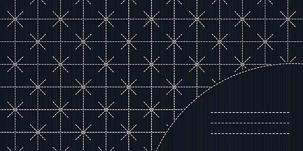 Simple sashiko ornament with copy space for text. Sashiko stitching…
