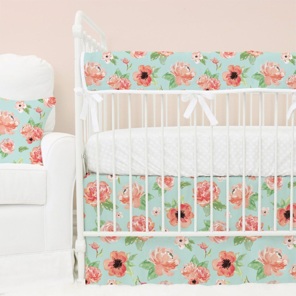 Floral Nursery Bedding Amusing Colette's Coral Floral Bumperless Baby Bedding  Mint Coral Baby Design Inspiration