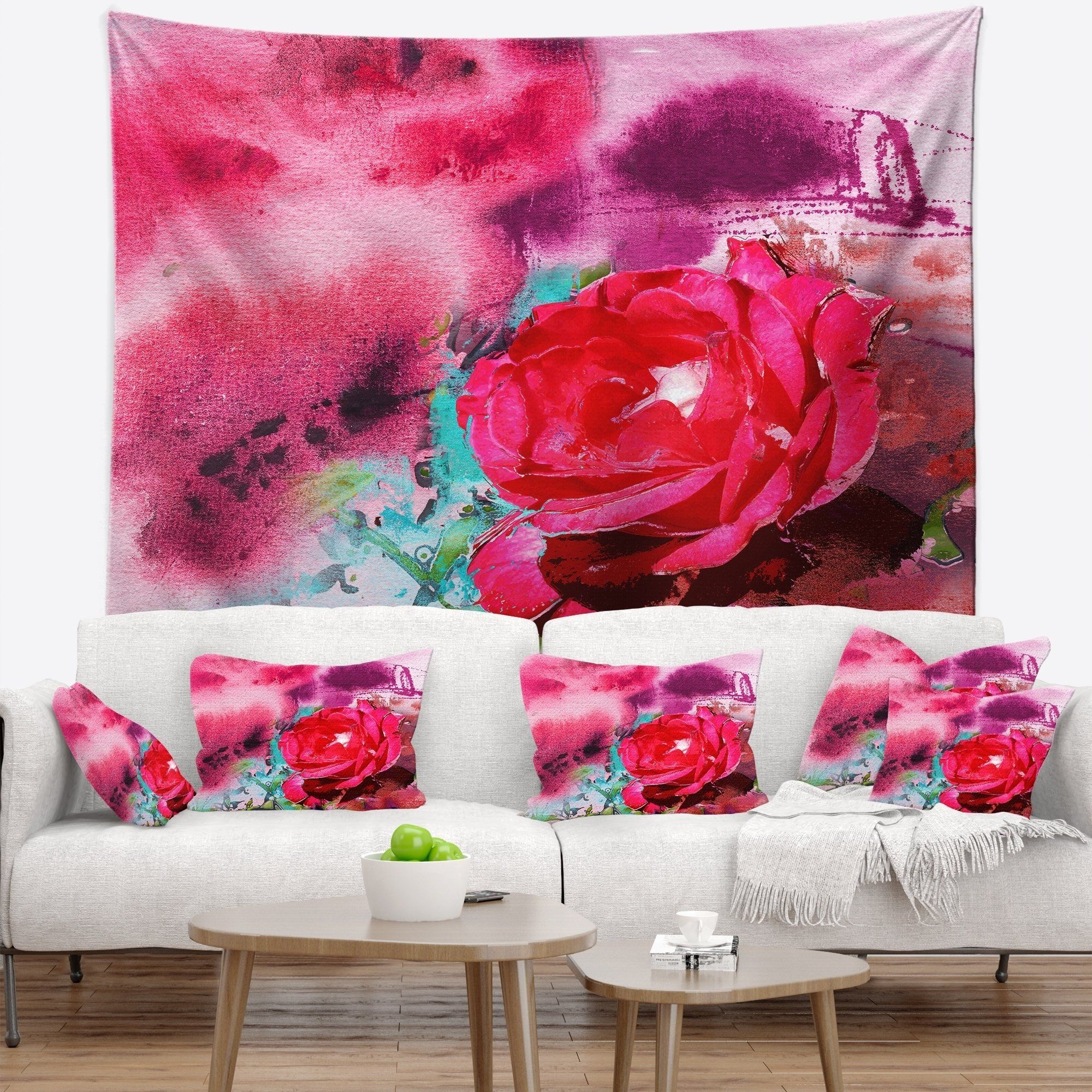 Designart Red Rose On Abstract Paper Floral Wall Tapestry