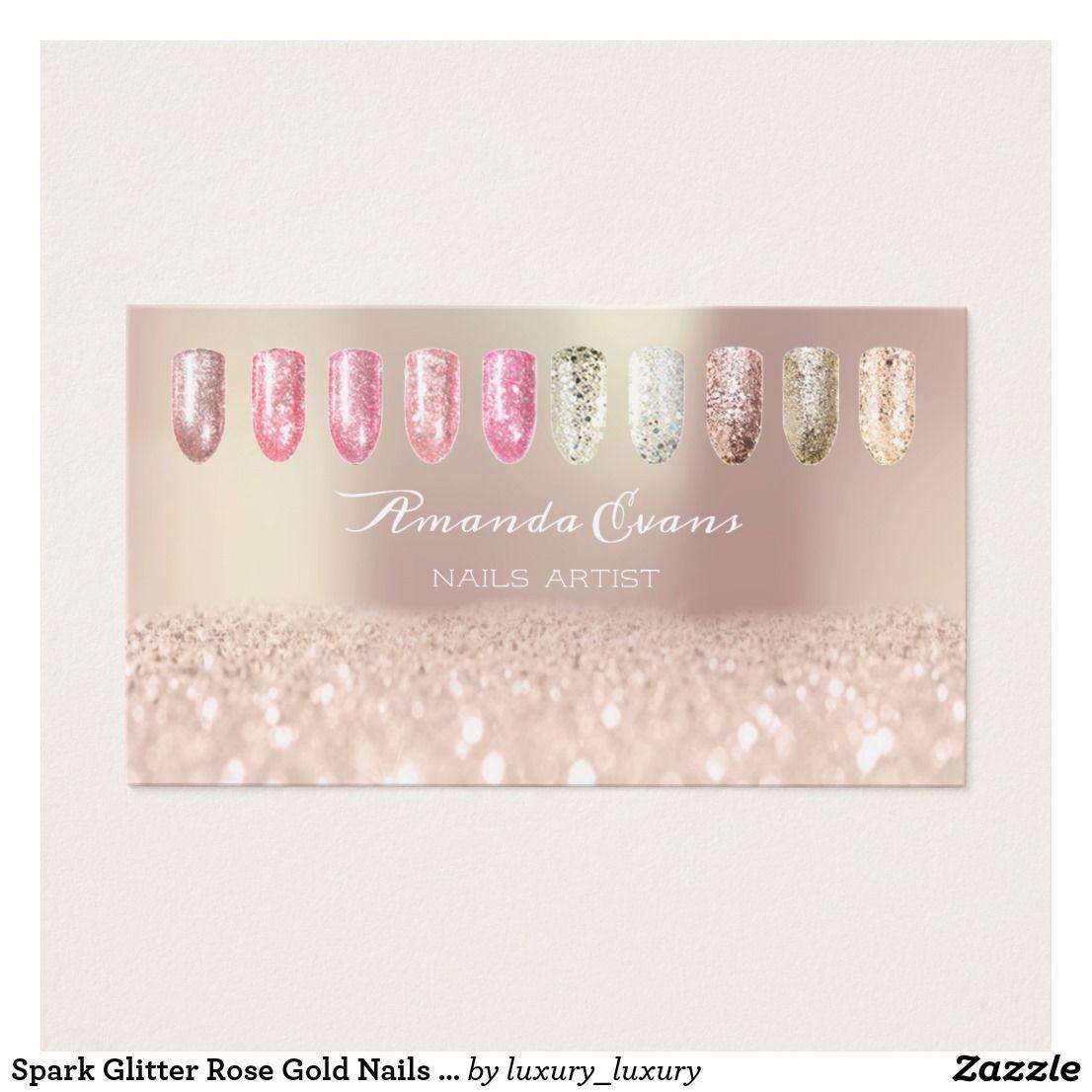 Spark Glitter Rose Gold Nails Artist Appointment Zazzle Com