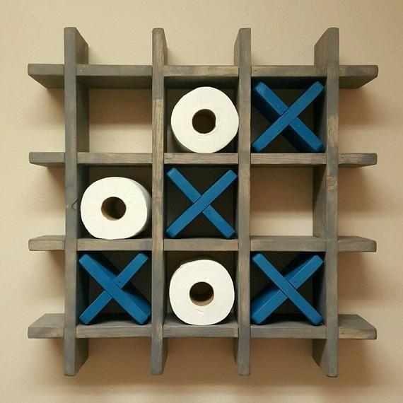 Bathroom Tic Tac Toe - Toilet paper holder - Toilet paper Tic Tac Toe - Pallet Wall art - Floating shelf - Decor - Farmhouse - Cottage images