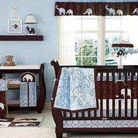 I Love This Idea For A Blue And Brown Boys Baby Nursery With An Elephant Theme