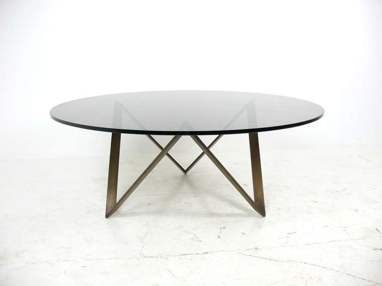 Roger Sprunger For Dunbar Bronze And Glass Coffee Table Modern