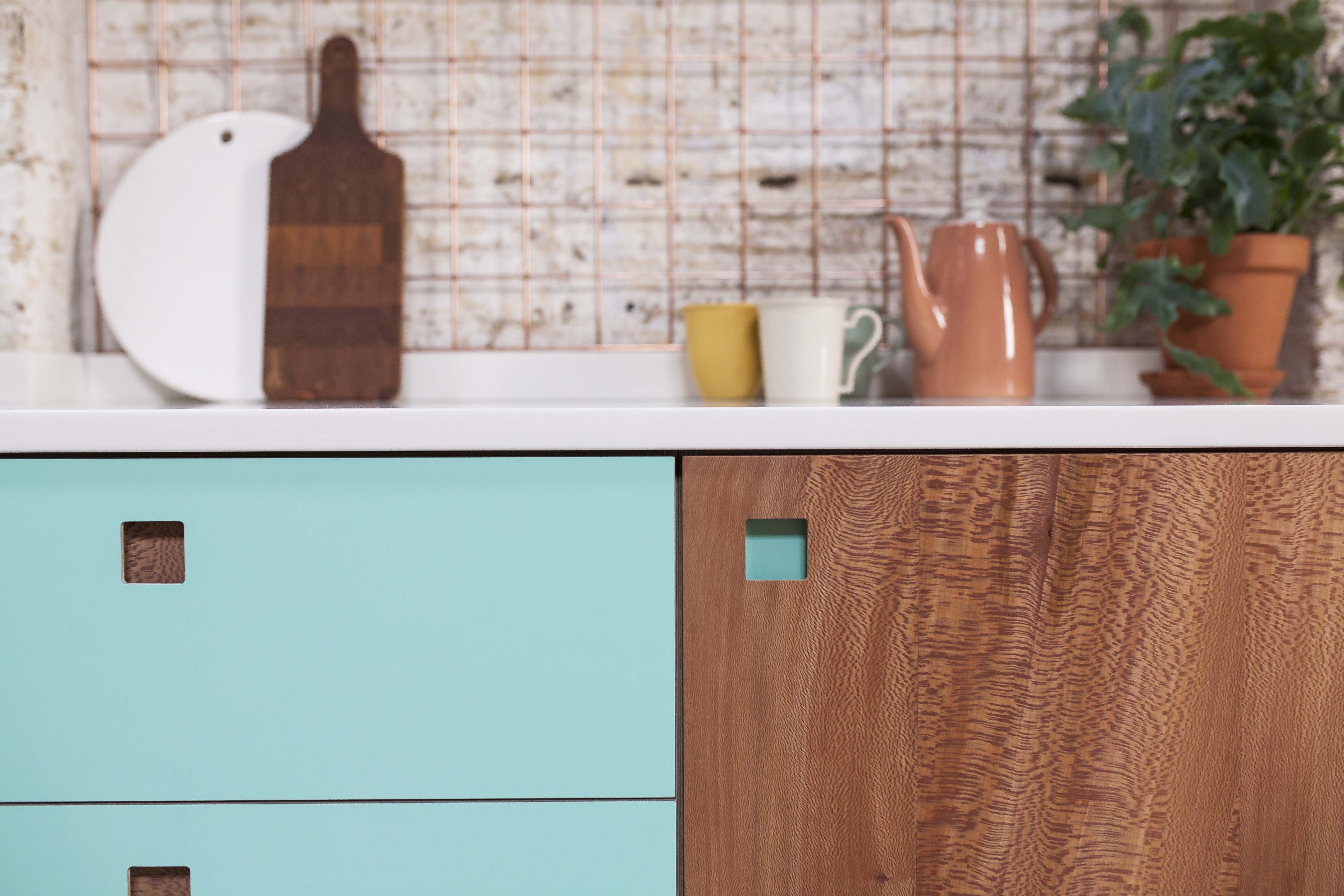 Brixton East Kitchen with London Plane, Lido laminate & square inset ...