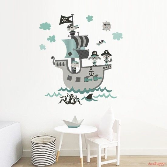Vinilos Infantiles Decohappy.Vinilo Infantil De Tela Barco Pirata Mint Habitaciones