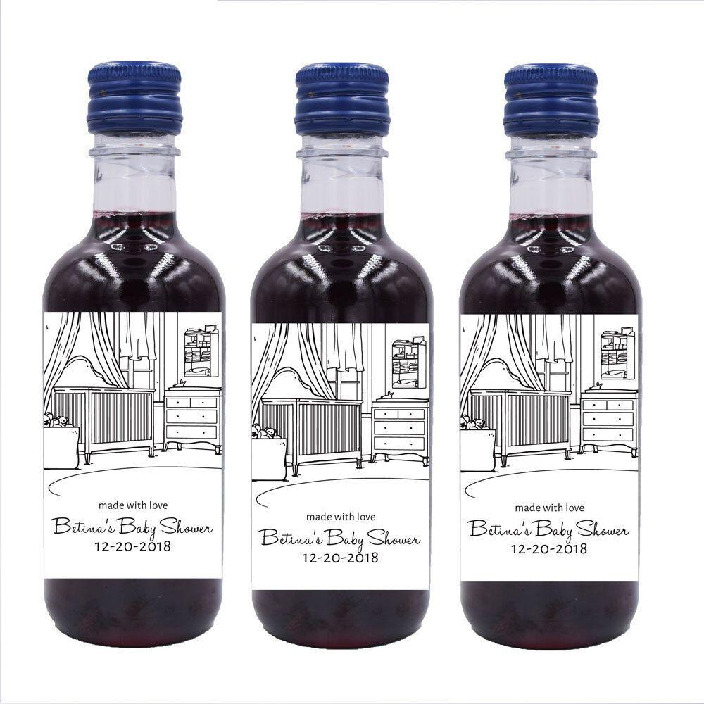 Personalized Mini Wine Bottle Labels, Custom Baby shower mini wine ...