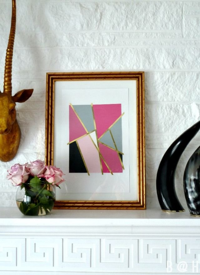 DIY Mondrian Inspired Art Tutorial with Paper + Glue via Bliss at Home