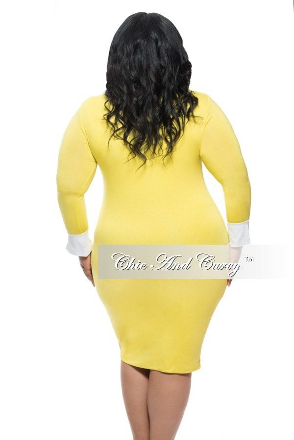 New Plus Size BodyCon Dress with Attached Collar and Cuff in Yellow