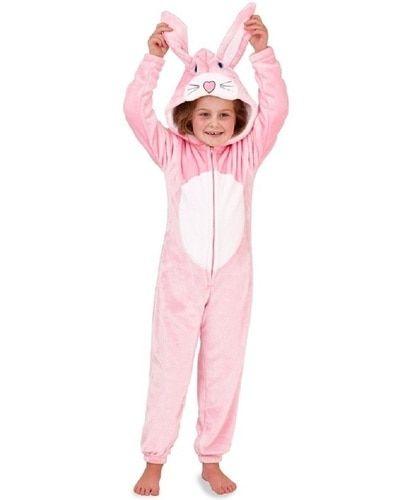 3caa4444e449 Girls Novelty 3D Hood Soft Pink Bunny Cosy Fleece Onesie