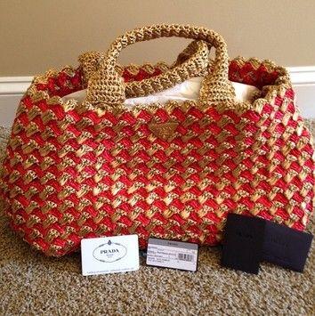 71e9794307ba Prada Raffia Crochet Red and Naturale Multicolore Tote 36% off ...