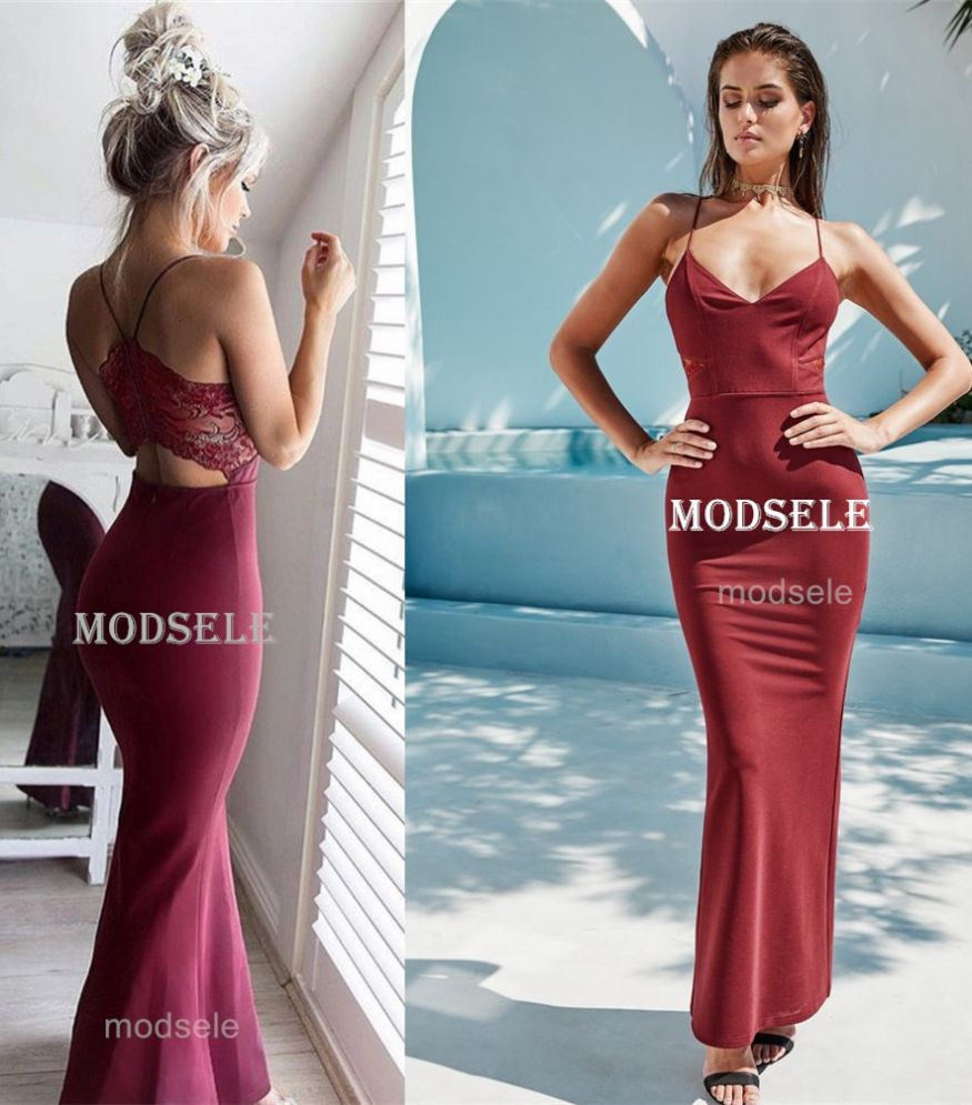 Gorgeous burgundy mermaid long prom dress with criss back gowns