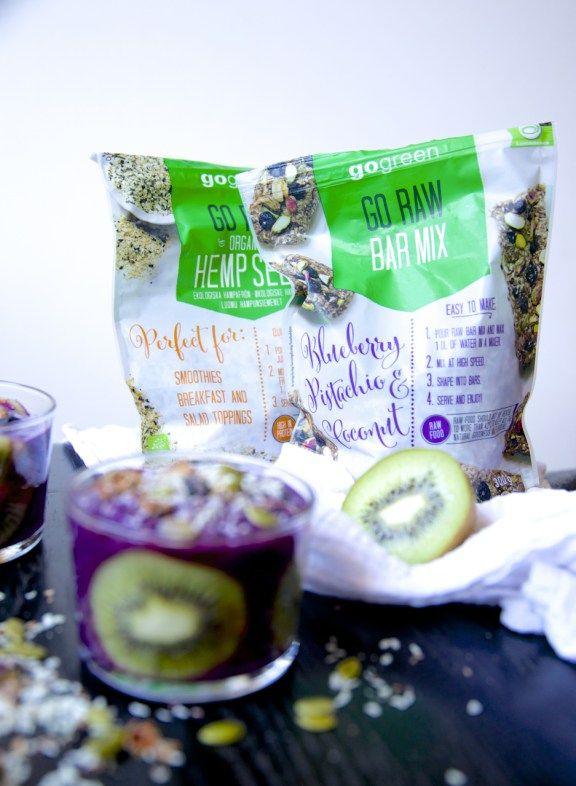 "hemp seed ""yogurt"" with kiwi and blueberries"