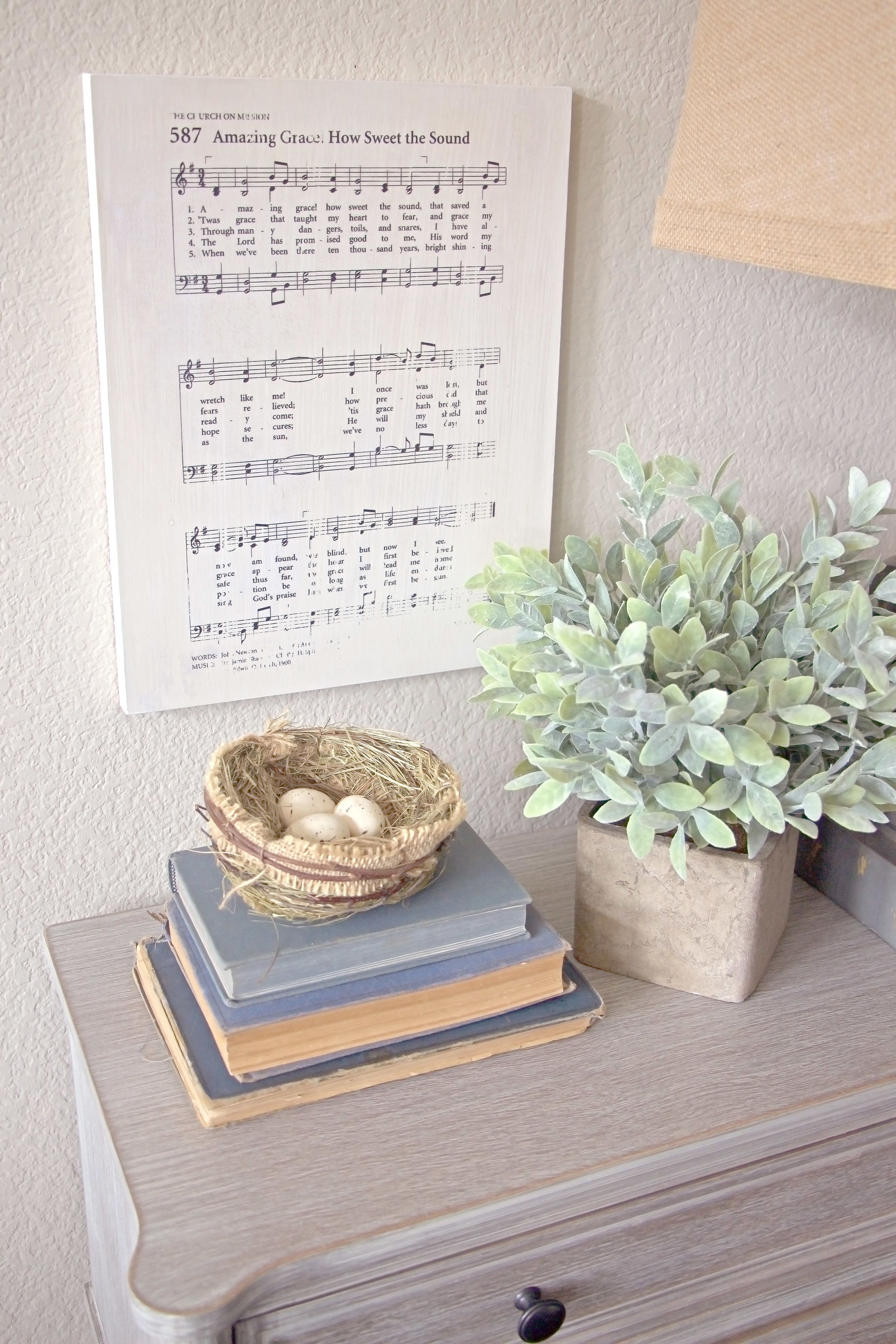 Amazing Grace Hymn Wood Art Piece. Add meaningful art to your home or give the sentimental gift of a cherished memory with our Hymnal Art Collection. These hymnal art prints are a beautiful addition to a gallery wall or propped up on a nightstand or mantel.