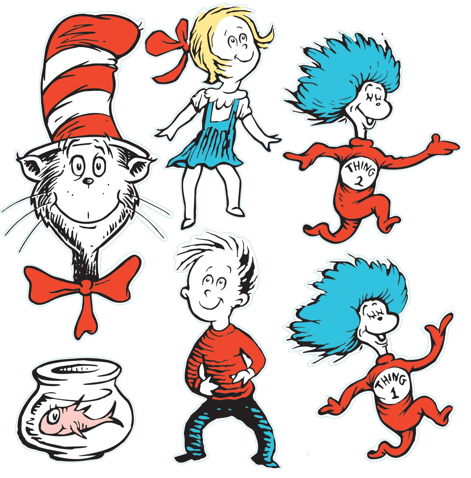 Coloring page of cat in the hat - This Decoration Kit Contains One Folded Sheet Of Die Cut Full Color Illustrations Of The Dr Seuss Characters Including The Cat In The Hat Thing Thing 2