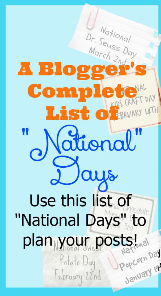 National Day Calendar 2019 February List A Blogger's List of National Days   Social media not mavening