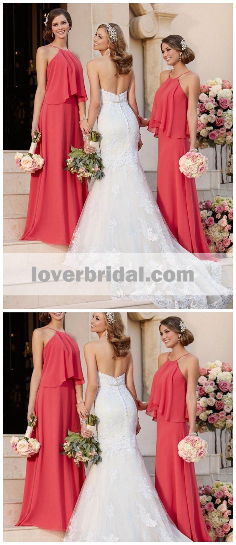 Cheap coral pregnant chiffon custom long bridesmaid dresses wg