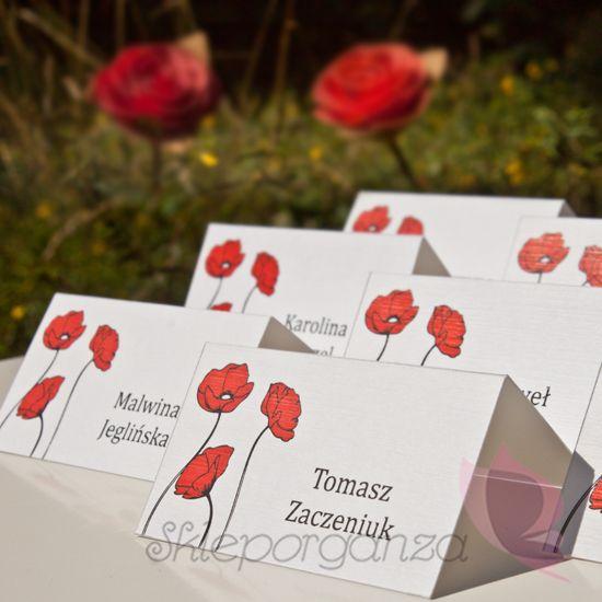 Winietki Slubne Maki Bialo Czerwone Skleporganza Pl Gift Wrapping Gifts Wrap
