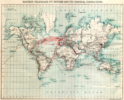 M map of telegraph cable connections used by the eastern telegraph company in 1901.